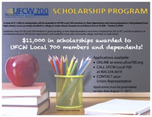 UFCW Local 700 Opens Fall Scholarship Contest