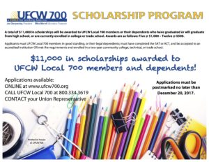 DEADLINE EXTENDED! Apply Today for UFCW700 Spring Scholarship Contest