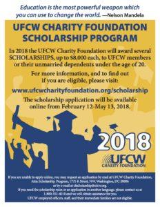 UFCW International Charity Foundation Scholarship Program Opens
